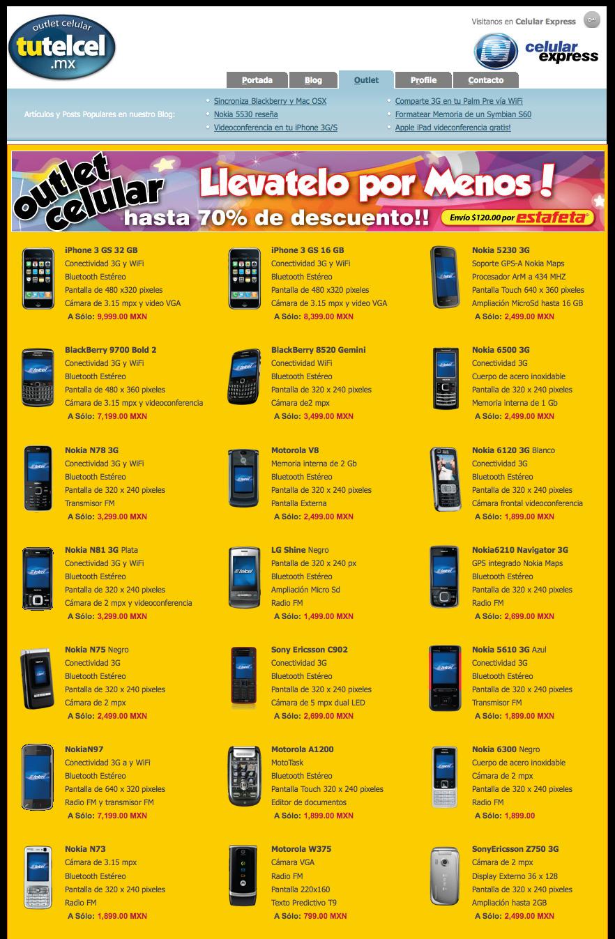 Outlet celular telcel ya esta en l nea iphone palm pre - Figuras de lladro precios ...
